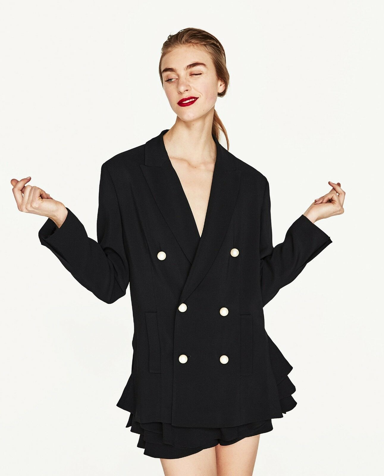 d78b1cab Details about Rare!!! Size XS - NWT ZARA DOUBLE BREASTED JACKET WITH PEARL  BUTTONS COAT BLAZER