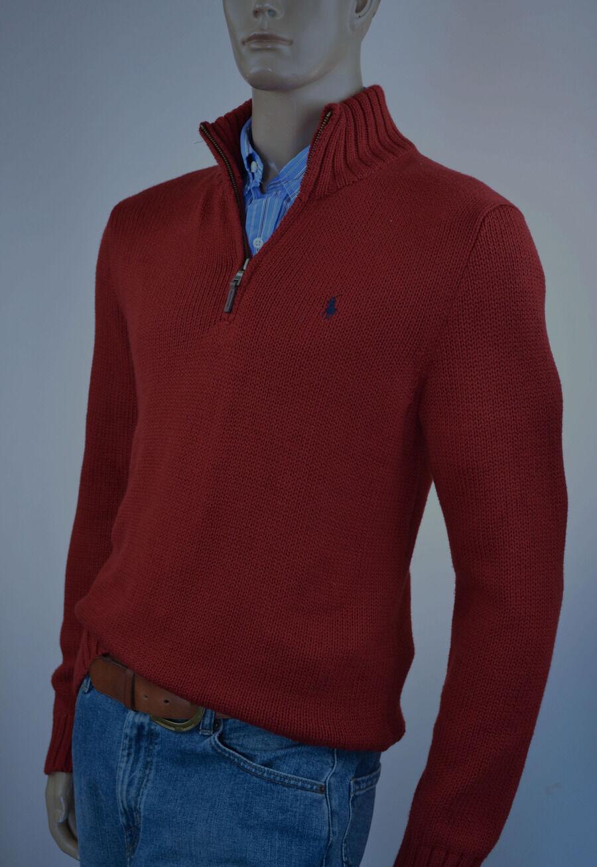 Ralph Lauren High-Twist Cotton ROT Half-Zip Sweater/Navy Blau  Pony -NWT