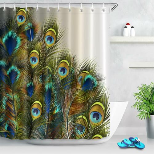 Fabric Shower Curtain Hooks Bath Accessory Sets Blue /& Green Peacock Feathers LB