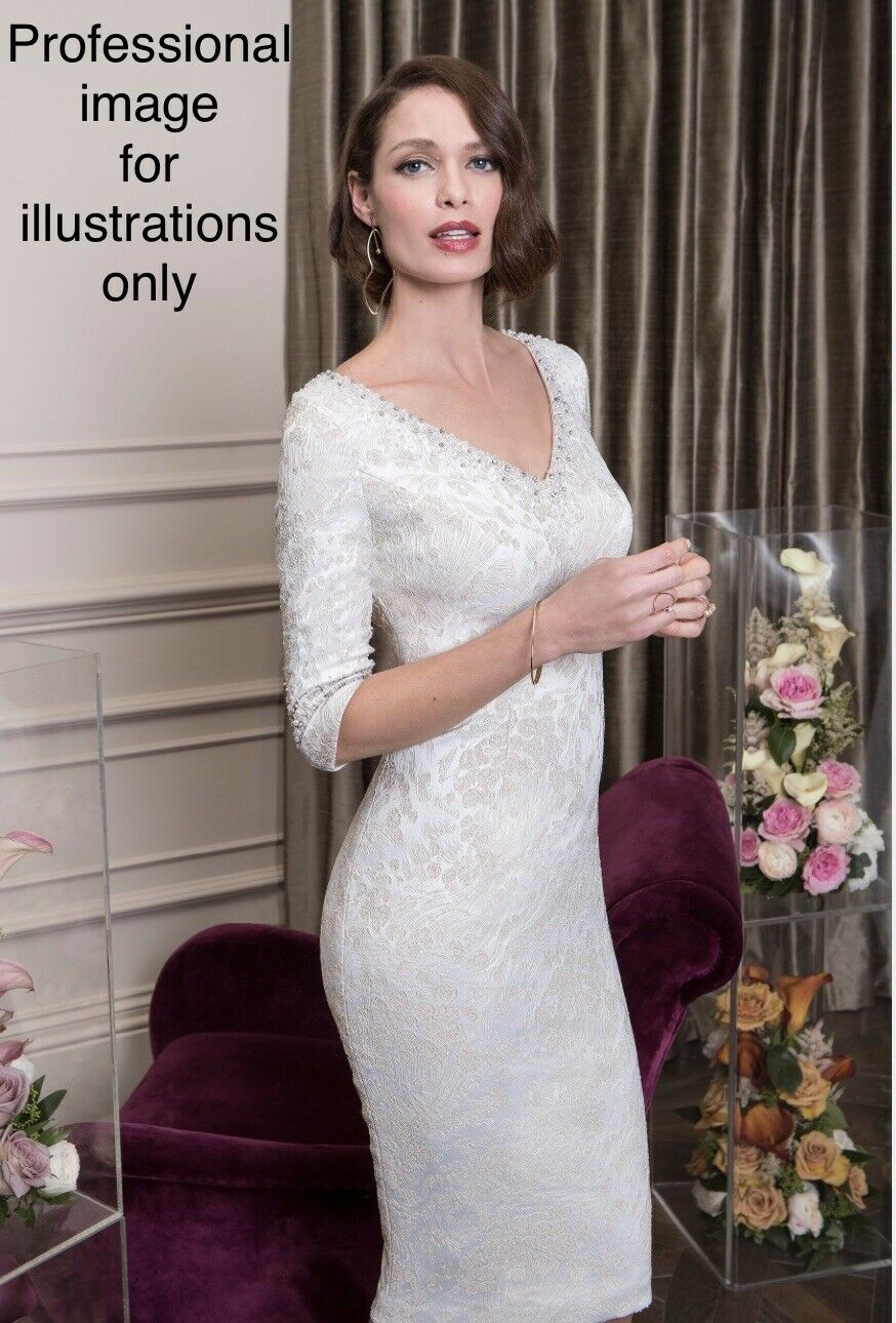 John Charles 26545A Dress/Headpiece, Mother Of The Bride/Groom Champagne UK10