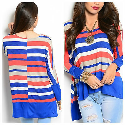 USA Womens Long Sleeve Asymmetrical Hem Tunic Top Striped Round Neck Loose Shirt