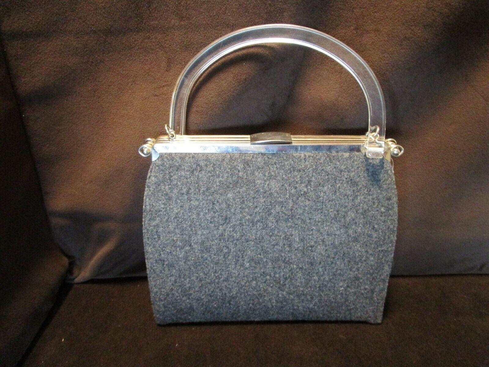 Vintage Grey Wool Tweed Weave Purse Handbag Clear Lucite handle 9