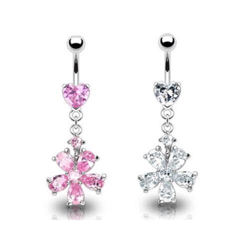 Kristall Blume Bauchnabel Piercing Schmuck Herz mit 8 Kristallen Rosa Klar