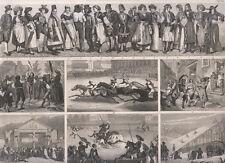 giochi, corse di cavalli, balli corrida corse di cavalli storia 1850  bulino