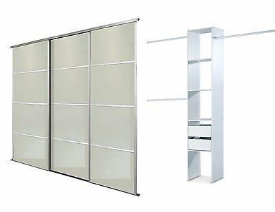 Sliding Wardrobe Doors (4 pane Mirror x 3) & Storage. Up to 2235mm (7ft 4ins)