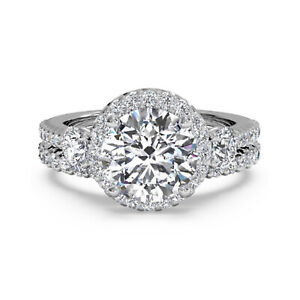 1.90 Ct Round Moissanite Band Set 14K Solid White Gold Anniversary Ring Size 7