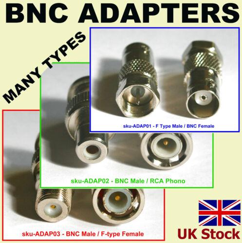 many types BNC ADAPTERS UK RCA F Type Phono Male Female CCTV adapter