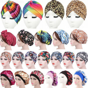 Womens Stretchy Turban Hat Head Wrap Band Chemo Bandana Hijab Pleated Indian Cap