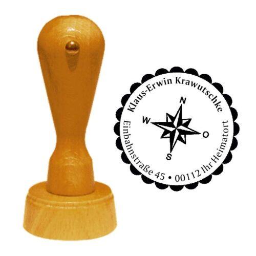 Stempel « WINDROSE » Adressenstempel Motiv Pfadfinder Kompass Wandern Wanderer