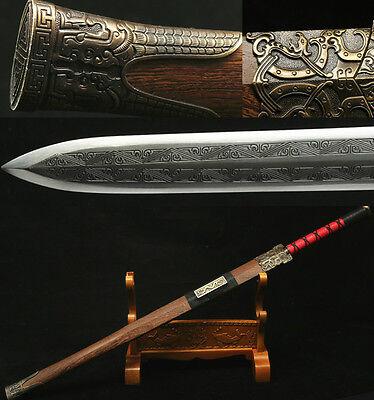 "42""1095 CARBON STEEL BLADE HAS CARVING ROSEWOOD CHINESE HAN 汉剑 SWORD"