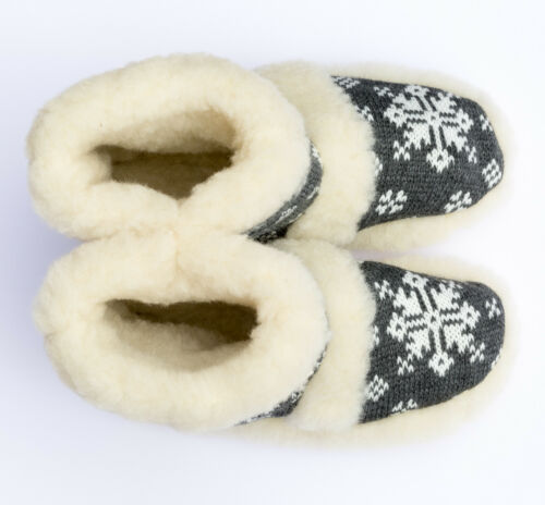 Sheep Wool Women Ladies Indoor Home Shoes Slippers Warm Boots  Grey