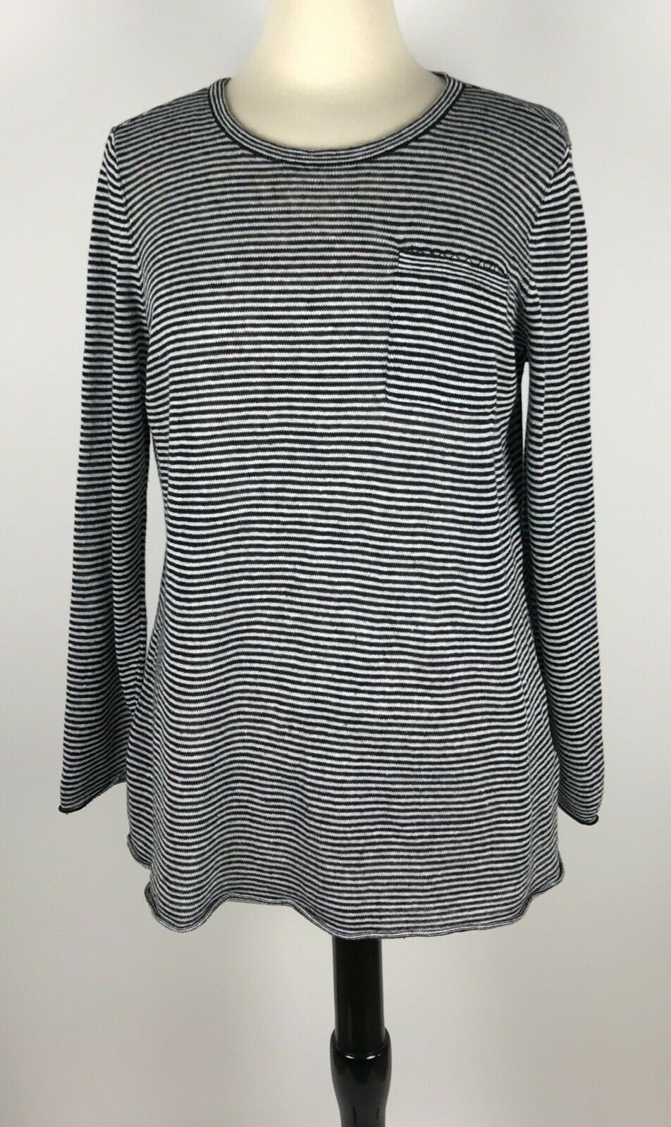 EILEEN FISHER Organic Linen Lightweight Sweater Long Sleeves Striped Medium