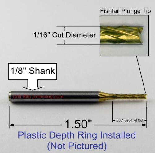 """M142 1//16/"""" Titanium Coated Carbide Router 1//8/"""" Shaft FR4 G10 Carbon Fiber"""