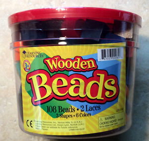 Beads in a Tub, 108 hardwood spheres, cubes and cylinders with Laces LER0140
