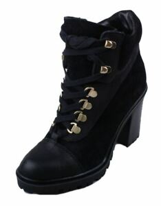 Guess-Giancar-Womens-Black-Leather-Round-Toe-High-Heel-Booties-size-11