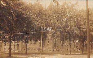 Ohio-Postcard-Real-Photo-RPPC-1908-WELLINGTON-Congregational-Church-Building