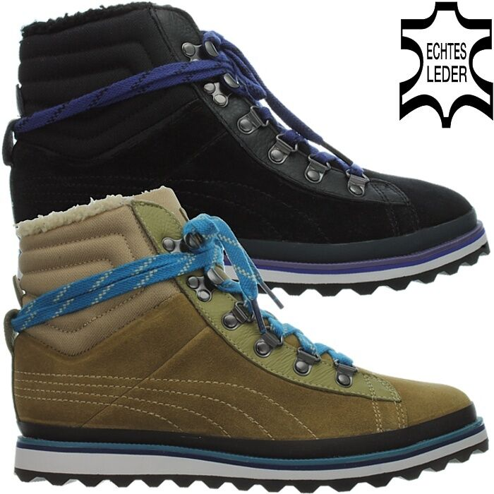 Puma City snow boots Noir Brun Femmes Fourrure Daim Bottes D'hiver Chaussures NEUF