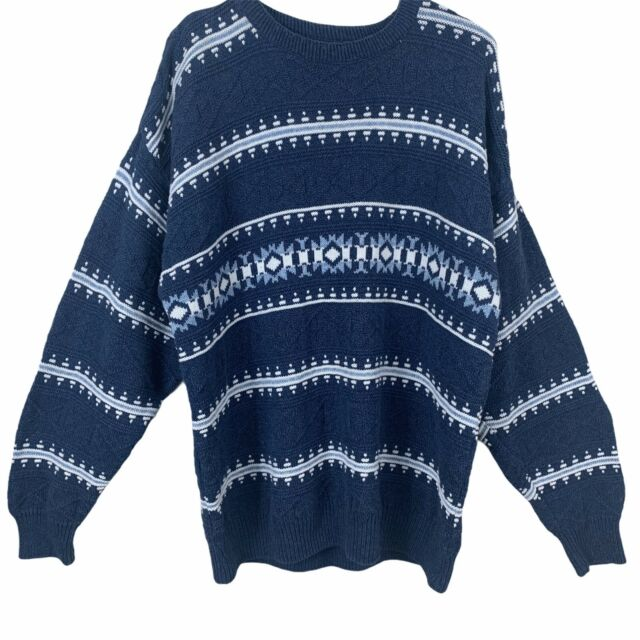 Jantzen Vintage Crew Neck Sweater Mens XL Pullover Made In USA Blue & White