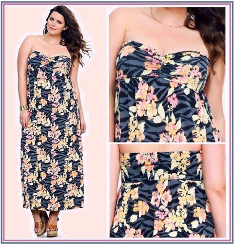 NWT TORRID WOMEN/'S grey zebra long maxy strapless floral dress empire 12-14