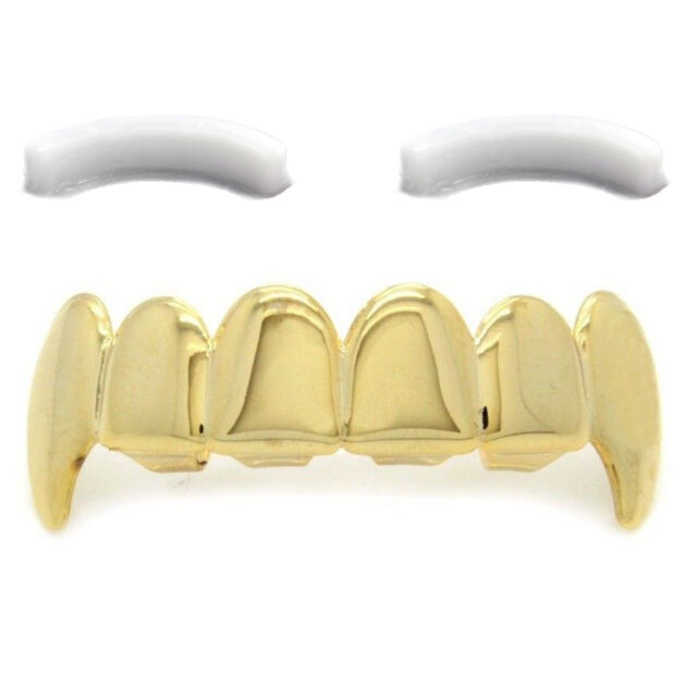 14K Gold Plated Hip Hop Teeth Grillz Top Fangs with Extra Molding