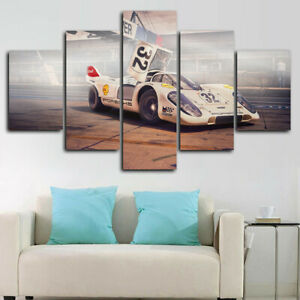 Historic Racing Supercar 5 Panel Canvas Print Wall Art Poster Home Decoration
