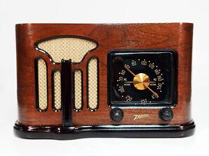 Old Antique Wood Zenith Vintage Tube Radio-Restored Working Art Deco Black Dial