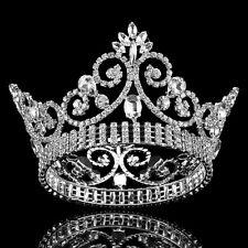 Silver Head Tiaras Crystal Hair Pageant Princess Full Crown Handmade Baroque CZ