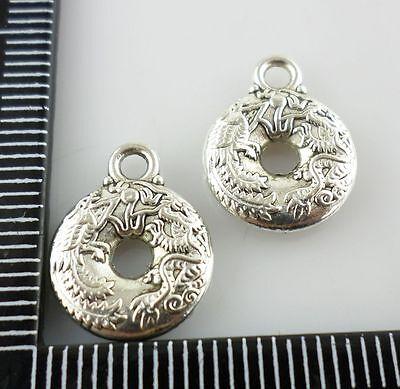 28/260pcs Tibetan silver Round ring Dragon Phoenix Charms Pendant