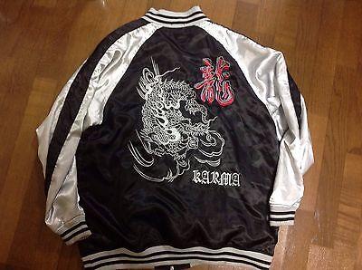Japanese Dragon Black silver Souvenir Jacket 3L men Jumper Large white gold red