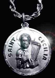 St saint cecilia pendant charm sterling silver jewelry image is loading st saint cecilia pendant charm sterling silver jewelry mozeypictures Choice Image