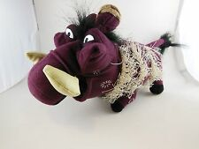 """Rare HTF Pumba Plum color Wart Hog Plush 10"""" + tail  Lion King Broadway Musical"""
