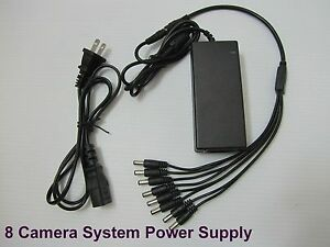 12V DC 8A Power Supply Adapter +8 Split Power Cable for CCTV Security Camera DVR
