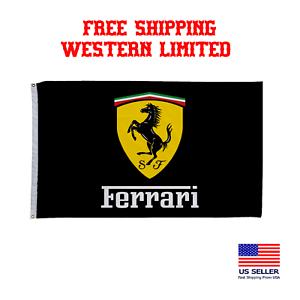 Ferrari Black//Red Flag Banner 3x5 ft Italy Car US Seller Free Shipping