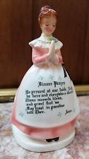 Vintage Enesco Pink Prayer Lady Napkin Holder Dinner Prayer Be Present at our