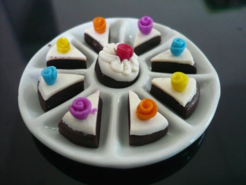 Ceramic Tray of  9 Chocolate Sliced Cakes Dollhouse Miniatures Food Bakery-2