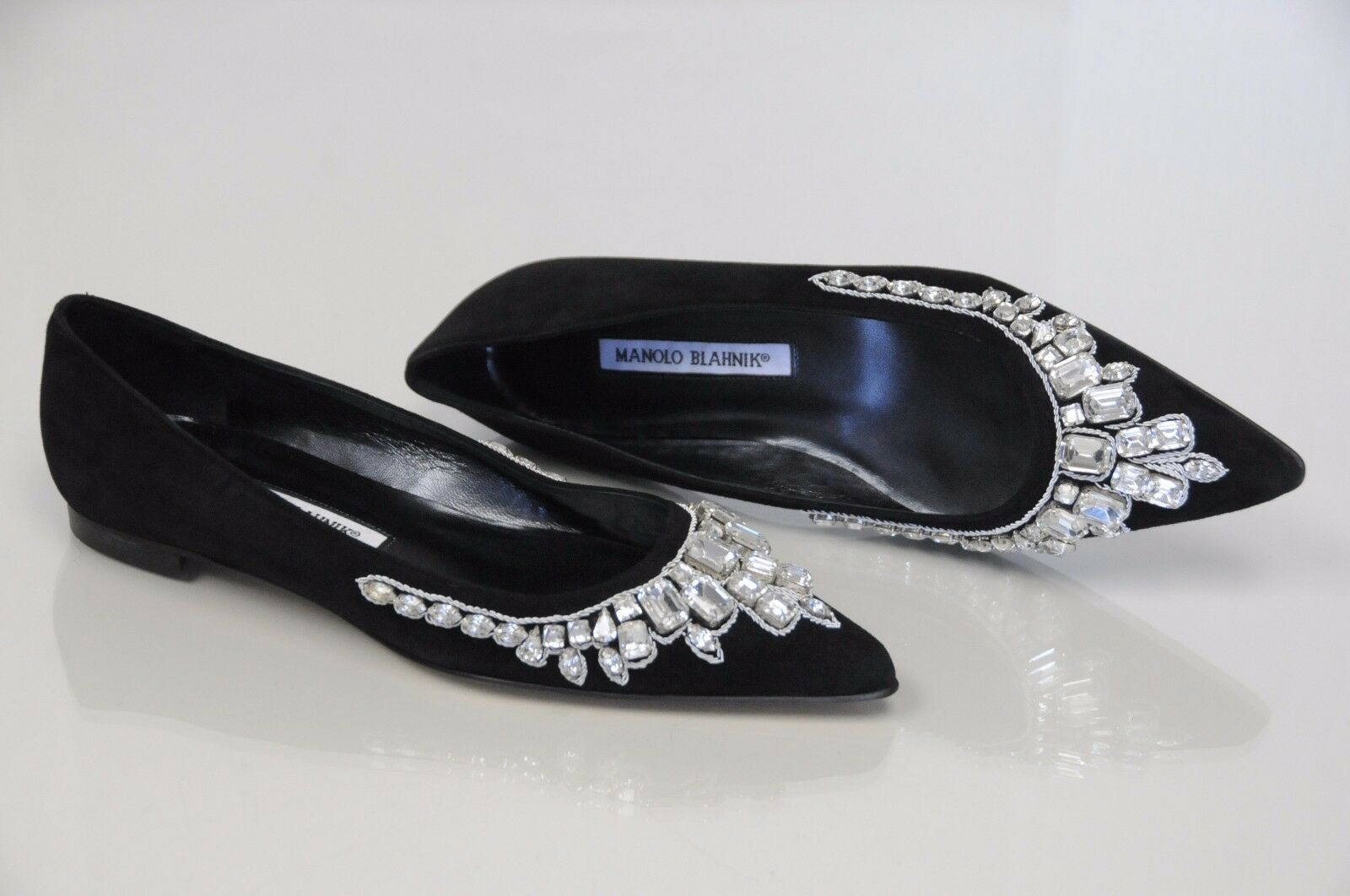 1485 NEW MANOLO BLAHNIK BB JEWELED Black Suede Pointy Flats Ballet SHOES 35.5