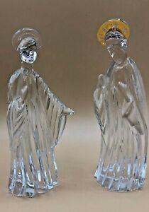 GORHAM-CRYSTAL-Gold-Nativity-Set-Mary-amp-Joseph-Figurines-incomplete-GERMANY