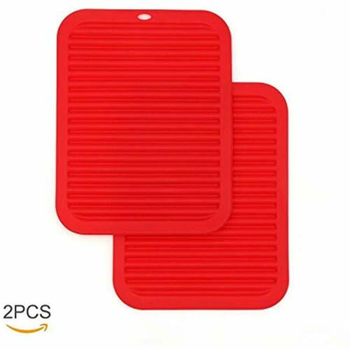 J-eaS 2PCs Premium Kitchen Trivet Extra Large-Sized Hot Pads Non-Slip Red /&