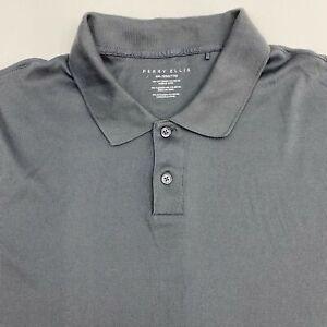 Perry Ellis Polo Shirt Men's Size 2XL XXL Short Sleeve Gray Casual Cotton Blend