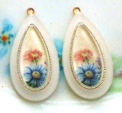 Vintage Charms Flower Dangle Drops Teardrop Blue Pastel Rose NOS #1027L