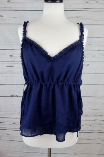 NEW GUESS Women/'s Audrey Ruffle Textured Camisole Peacoat Navy *Size Choice* $49