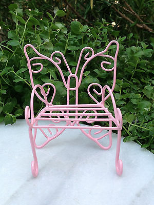 Strange Miniature Dollhouse Fairy Garden Furniture Metal Pink Butterfly Bench Chair Ebay Ibusinesslaw Wood Chair Design Ideas Ibusinesslaworg
