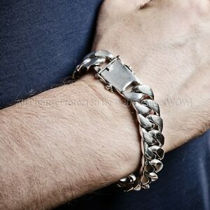 771f2816df8ea Details about Mens Silver Bracelet - Curb Links 15mm wide - Solid, Chunky,  Heavy Wristwear