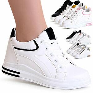 Senora-cuna-cortos-Hidden-botas-plataforma-zapatillas-de-deporte-con-cuna-brillo