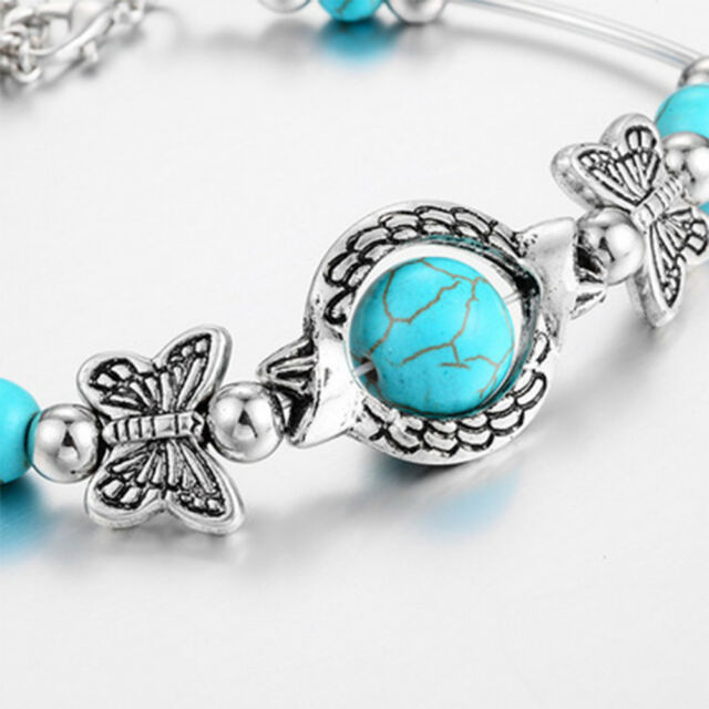 Vintage Turquoises Butterfly Bracelets For Lady Charm Bracelet Jewelry Chic