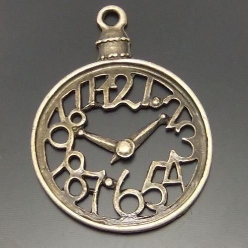 20pcs Antiqued Bronze Tone Clock Shaped Pendant Findings Charms 28*28mm