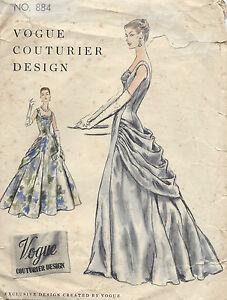 dfd9d717f88f 1955 Vintage VOGUE Sewing Pattern B32 DRESS EVENING GOWN (1151) | eBay