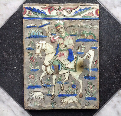 Antique Large Persian Tile Maiolica Hunter on Horse 19th C