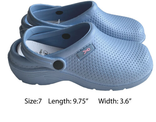 Medical Nursing Womens Ultralite Clogs W//Heel Strap Light Shoes Ceil Blue 7