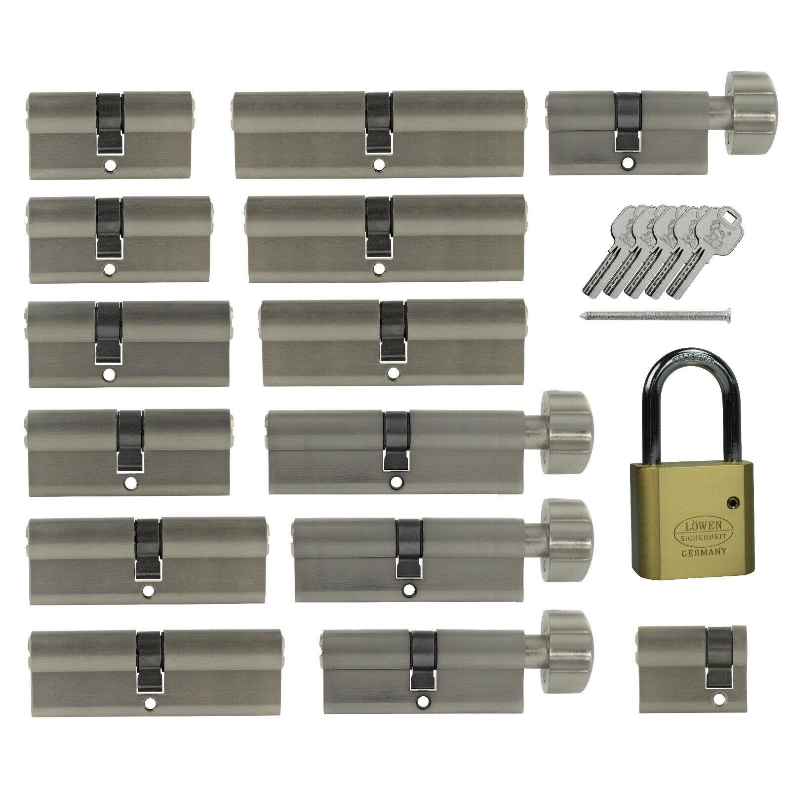 Knaufzylinder L/änge A:45 mm B:45 mm Schlie/ßzylinder f/ür gleichschlie/ßendes SET//Variante